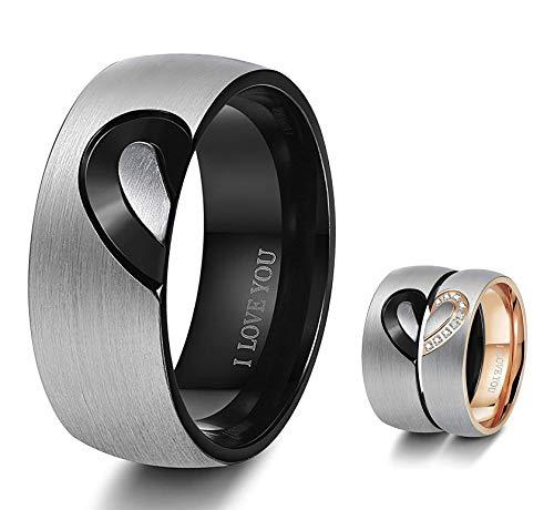 BESTEEL Edelstahl Ring für Herren Damen Liebe Herz Ringe Hochzeit Verlobung Ringe Ewigkeit Paare Sein & Ihr