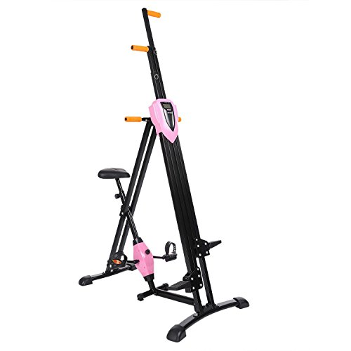 Hufcor Mountain Climber Machine,Pink Vertical Climber with Low-impact Warm Up Exercise Bike