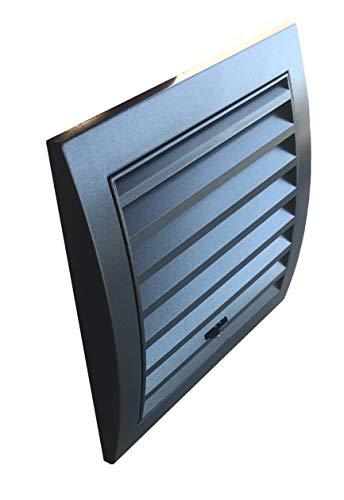 Lüftungsgitter verstellbar anthrazit 15 x 15 cm mit Stutzen DN 100 mit perforierten Insektenschutz, Edelstahlschrauben, Dübel, selbstklebende Schaumgummidichtung