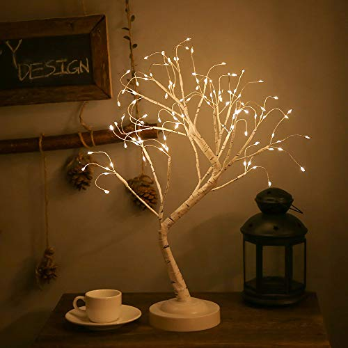FUCHSUN Led Birch Tree Light Tabletop Bonsai Tree 20 Inches Decorative Fairy Light Artificial Tree Battery Operated Twig Lamp for Party Wedding Holiday Festival Christmas Decoration - Warm White