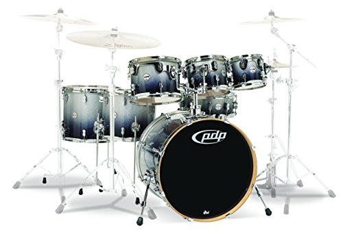 PDP by DW 5 Concept Ahorn Shell Pack mit Chrom Hardware Blue Sparkle Konzept Ahorn 7-Piece Silver to Black Fade