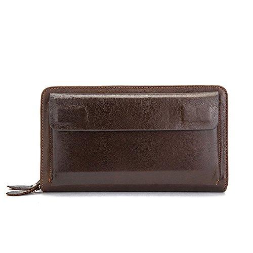 Gendi Uomo Borsa Portafoglio in Pelle di cuoio genuino, supporto di carta Zipper per tasca a pelo foderato lungo della pelle bovina per iPhone 6plus (Caffè)