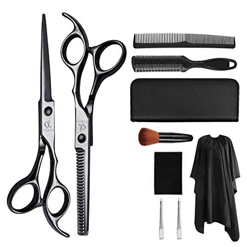 XJST Conjunto de Tijeras de peluquería, Conjunto de Tijeras de Corte de Pelo de 10 pcs, Conjunto de Tijeras de peluquería de Acero Inoxidable, para barbero, salón, hogar, luz y Afilado