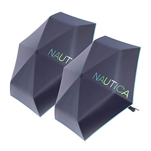 """2-Pack Nautica Umbrella Windproof - 3-Section Auto Open Travel Umbrella - Sturdy Rainy Day Protection with Ergonomic Handle, 42"""" of Coverage (Navy)"""