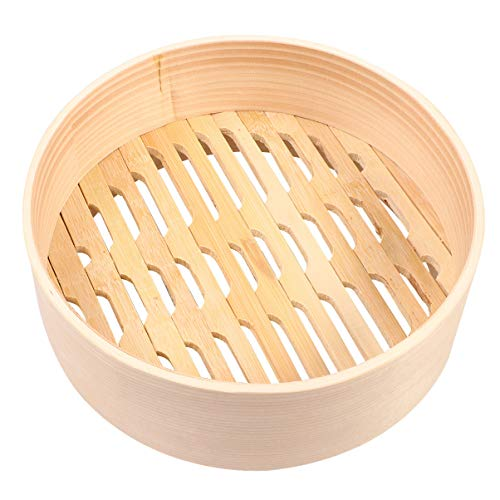Hemoton Piroscafo in Bambù Pentola per Alimenti Cestello Fornello a Vapore Portatile per Gnocchi Verdure Pollo Cucina 21 Cm