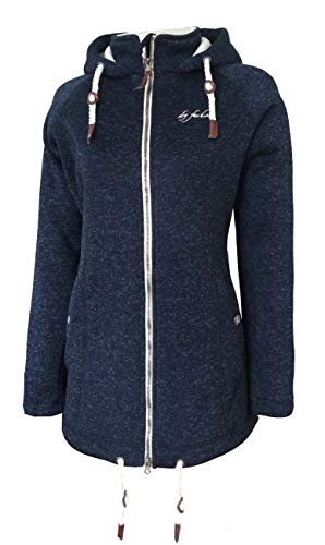 Dry Fashion Damen Wollfleecemantel Oslo Parka Übergangsjacke warm, Farbe:dunkelblau, Größe:48