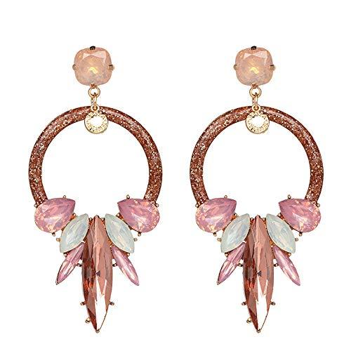 Yhhzw Earrings European And American Retro Personality Geometric Earrings Acrylic Earrings-Brown Pink