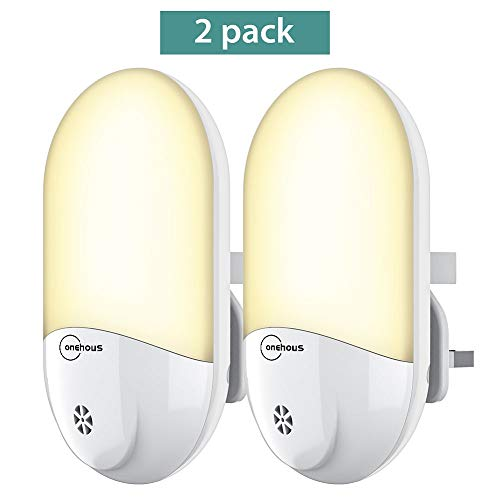 Plug in LED Night Light - Plug-and-Play Automatic Dusk to Dawn Photocell Sensor Night Lighting Lamp 2 Pack, Plug-in Wall Light Sensor Night Light for Kids, Bedroom, Bathroom, Kitchen, Hallway, Stairs