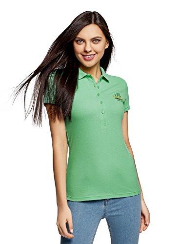 oodji Ultra Mujer Polo de Tejido Piqué con Bordado, Verde, ES 36 / XS