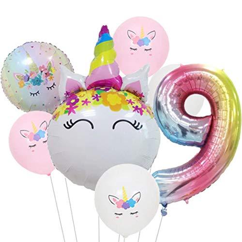 DIWULI, Ballon-Set, XL Zahlen-Ballon, Zahl 9, Einhorn-Ballon, Latex-Ballon, Latex-Luftballon 9. Kinder-Geburtstag Mädchen, Motto-Party, Dekoration, Folien-Ballon, Folien-Luftballon, Zahlenluftballon