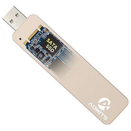 ADWITS USB 3.0 UASP a SATA NGFF M.2 2230/2242/2260/2280 SATA Key B o B & M SSD SuperSpeed Adaptador, Carcasa Externa sin Cable para Samsung Western Digital Crucial Unidad de Estado sólido y más, Oro