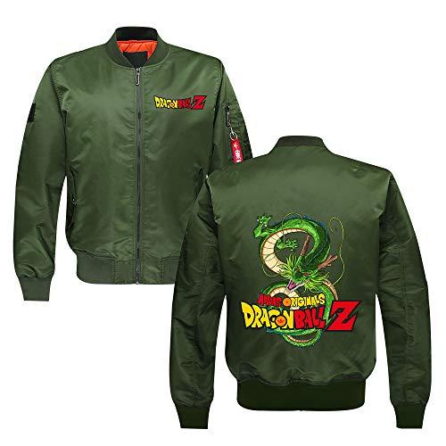 Nqdkfjeffr Dragon Ball Pullover Espesar Slim Fit otoño e Invierno Hombres de la Capa de la Juventud Collar del Soporte de Europa y América del Estilo de la Chaqueta Unisex (Color : Green26, Size : M)
