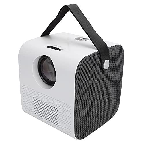 Gaeirt Tragbarer Miniprojektor, HD 1080P-Videoprojektor Filmprojektor Heimkino mit Bluetooth-Lautsprecher, 150-Zoll-Projektorbildschirm, Kompatibel mit USB/Speicherkarte/AV(Weiß)