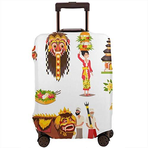 Reiskoffer beschermer, Bali Traditionele Culturele concepten Set Balinese Traditioneel Nieuwjaar Etnisch Masker, Koffer Cover Wasbare Bagage Cover