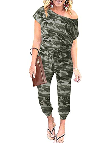 ANRABESS Womens Jumpsuits Camouflage Print Crewneck Off Shoulder Short Sleeve Elastic Waist Romper with Pockets A203micaihuang-M