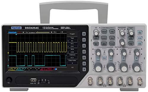 Osciloscopio digital, Hantek DSO4254C Osciloscopio de almacenamiento digital 4 canales 250 MHz Lcd PC Osciloscopio USB portátil Ext Dvm Función de rango automático