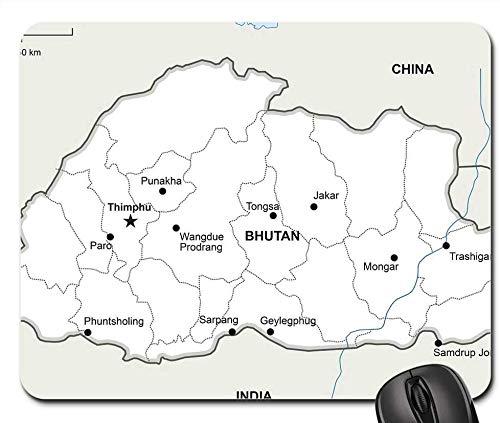 Mouse Pads - Alfombrilla para ratón, diseño de mapa político de Bhutan Geography Country Maps Asia