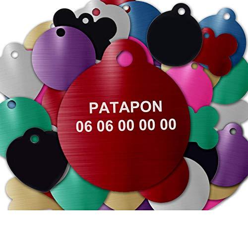 GRAVURE CONCEPT Médaille pour Chien Et Chat À Personnaliser – Médaillon Gravé 27 mm - 1 à 2 Lignes – 8 Couleurs Disponibles (Rouge, Rond)