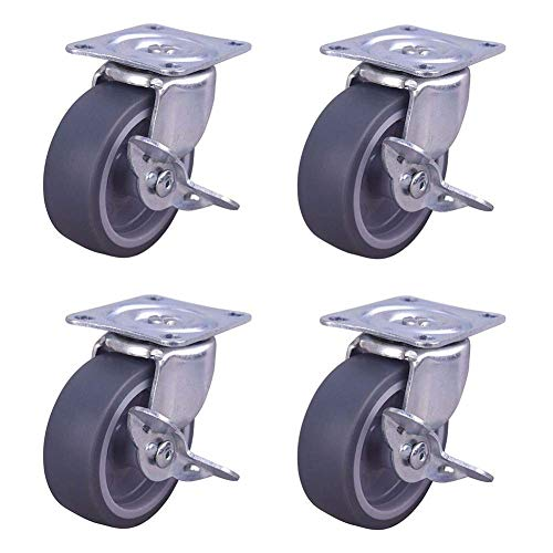 DAKEUR Set of 4 Castor Wheels, Heavy Duty Rubber Swivel Trolley Furniture Appliance & Equipment with Brakes Wheels Castors - (No Scratches/Noise)