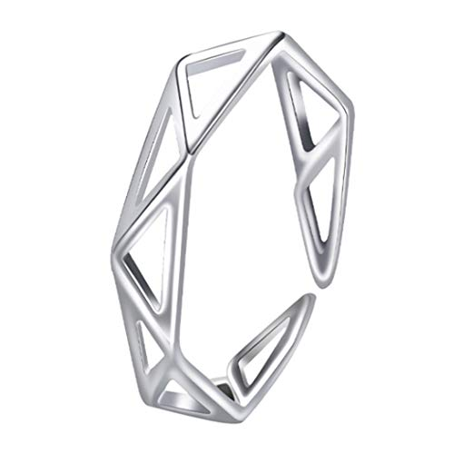 Ushiny Anillo bohemio triangular de plata ajustable anillo abierto personalidad geométrica anillo vintage joyería para mujeres y niñas