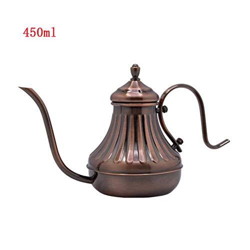Zidao Gießkanne 450 Ml Vintage Bronze Gooseneck Kaffeekanne Übergießkaffeekessel Mit Filter Hand Tropf Kaffeekanne Tee Percolator Teekanne Innenreinigung,Messing