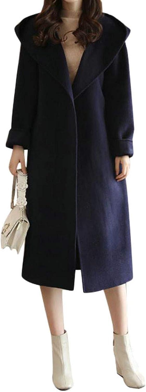 Agana Womens Woolen Open Front Fall Winter Hooded Belted Pea Coat Outwear
