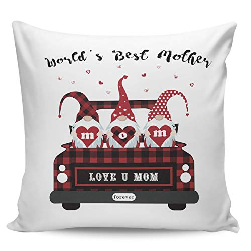 Square Throw Pillow Cover with Zipper for Kid/Couple/Couch/Chair/Bed/Dining/Living Room, World's Best Mother Red Pickup with Gnomes Decorative Soft Short Plush Cushion Cover Pillow Case 16x16in