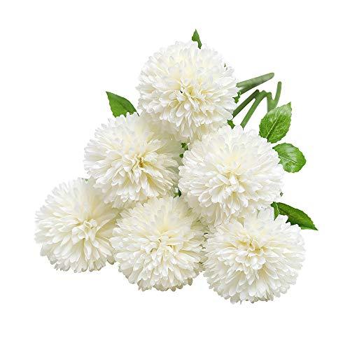 Tifuly Flores de Hortensia Artificial, 6 Piezas de crisantemo de Seda pequeña Bola de Flores para la decoración de la Oficina del jardín del hogar, Ramos de Novia, arreglos Florales(Blanco)