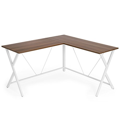 VASAGLE L-Shaped Computer Desk, Corner Office Writing Desk, Gaming Workstation, Sturdy Metal Frame, Easy Assembly, Tools and Instructions Included 57.1'x 51.1' x 29.9' ULWD70WH