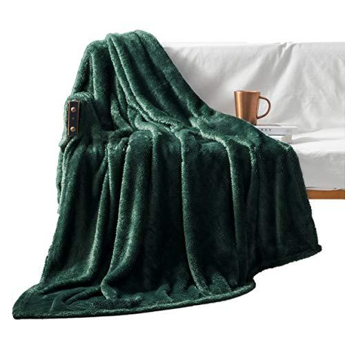 "Exclusivo Mezcla Plush Fuzzy Large Fleece Throw Blanket ( 50"" x 70"", Forest Green)- Soft, Warm& Lightweight"