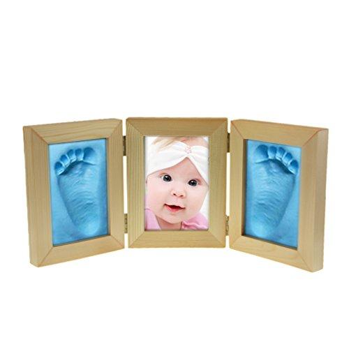 Cadre pour Photo Pliant Bébé et Empreintes de Main et de Pied Kit 2 Empreinte de Pâte à Modeler et Autocollants Cadeau pour Naissance Kit Cadre Photo Baby Photo Cadre pour Photo Enfant Triple Pliable