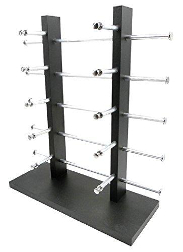 (Miwoluna) 眼鏡スタンド メガネ サングラス スタンド 置き ディスプレイ コレクション タワー 収納 アルミ 黒 10本用