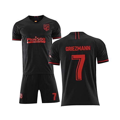WYUN Griezmann 7# Soccer Jersey Set, France Football Athlete Jersey Black 2 Piece - Tops and Shorts Set, for Mens and Kids Training Uniforms Also, Great Material.(4XS-XXL)-S
