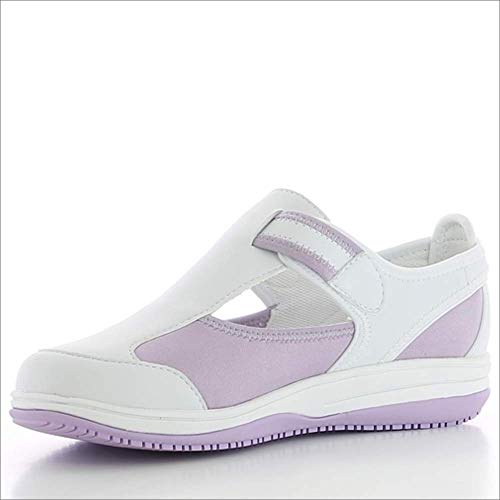Oxypas Medilogic Candy Slip-resistant, antystatyczne buty do nurkowania, w kolorze białym z fioletowym rozmiarem EU 36 / UK 3