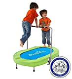 Jump2It Kids Portable 2 Person Mini Trampoline with Adjustable Central Handle and Protective Frame...