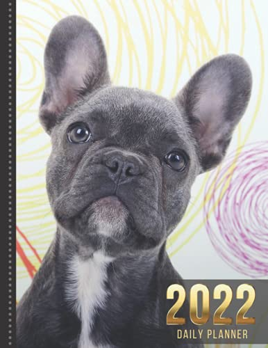 2022 Daily Planner: Gray French Bulldog Dog Art Photo - Animal Lover Series / One Page Per Day Diary / Large 365 Day Journal / Date Book With Notes ... - Hourly Time Slots - Calendar / Organizer