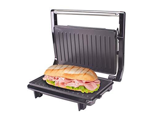 BEPER P101TOS001 - Tostiera Piastre Antiaderenti, Altezza Automatica, Luce di Funzionamento, Maniglia Fredda al Tatto, Gancio di Chiusura, Panini Maker, Sandwich Maker, Acciaio