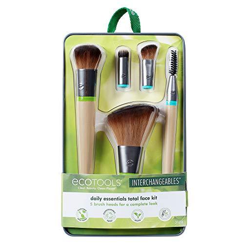 EcoTools Daily Essentials - Juego de brochas de maquillaje intercambiables con 5 brochas, 2 asas y lata de almacenamien