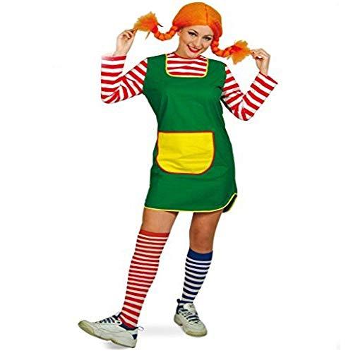 Damenkleid Karlinchen kurz grün mit rot-weiß geringelten Ärmeln gelbe Tasche Göre freches Mädchen (38)