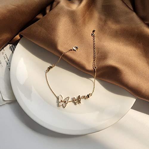 Pulsera de cadena de joyería de cristal dulce temperamento blanco mariposa encanto pulsera para niña dama regalo elegante pulsera (color de metal: pulsera)