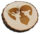 SNEG Baumscheibe REH und Hirsch mit persönlicher Gravur | Verschiedene Größen | Geschenk für Hochzeit oder Valentinstag (18-20 cm Durchmesser)