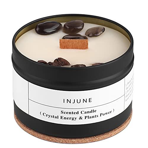 Vela aromática de soja orgánica con obsidiana y granos de café, vela hecha a mano, mecha de madera para exteriores, 50 horas, 200 g (café)