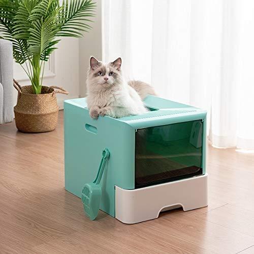 Yanmeng Aseo Interior para Mascotas para Gato con Pala Caja de Arena de Tipo Cajón Completamente Cerrado. (Color : Blue Green)