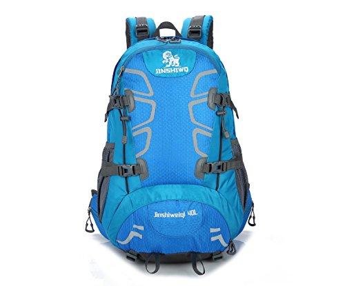 40L nylon randonnée sac à dos en plein air multifonction imperméable à l'eau sac à dos portable d'alpinisme voyage sac à dos H50 x L28 x T20 cm , blue