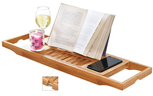DOZYANT Bamboo Bathtub Tray Caddy Wooden Bath Tray Table with Extending Sides, Reading Rack, Tablet...