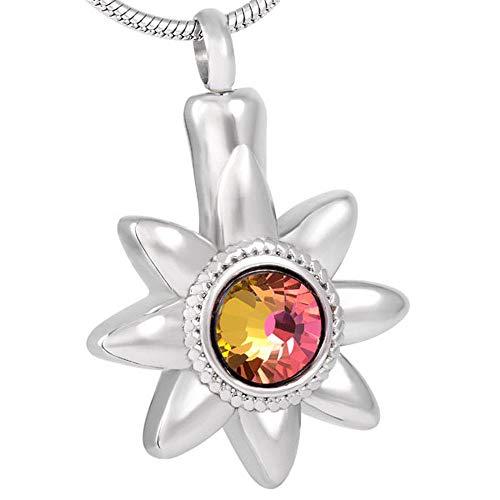 KBFDWEC Sun Flower Fantasy Crystal Cremación Joyas para Cenizas Urna Colgante Urna Conmemorativa Recuerdo con Kit de Relleno
