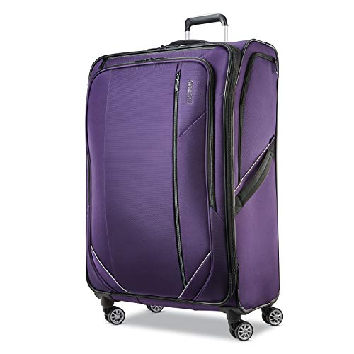 American tourister zoom turbo softside expandable spinner wheel luggage, purple, checked-large 28-inch