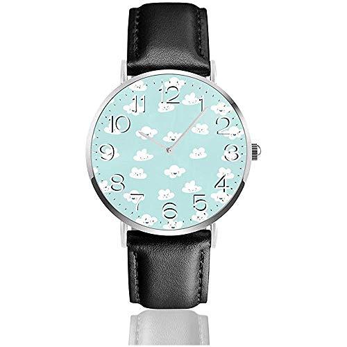 Semplice orologio da polso in pelle PU Orologio da polso Orologi casual, Orologio al quarzo da lavoro - Happy Clouds