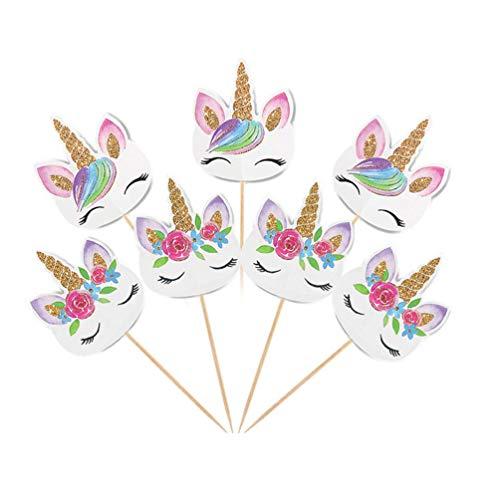 Rainbow unicorn cupcake toppers