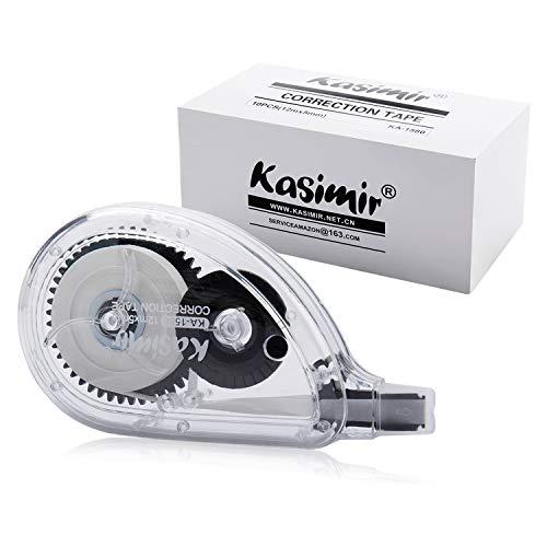 Kasimir Korrekturroller Korrekturmaus Set Korrekturband 10 Stück à 12m x 5mm Schwarz, Ungiftig, umweltfreundlich und von der FDA zugelassen ideal für Studenten kinder, im Büro arbeitendes Personal